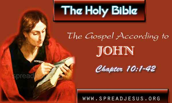 "John 10:1-42 THE HOLY BIBLE The Gospel According to John Chapter 10:1-42 John 10:1 ""Amen, amen, I say to you, whoever does not enter a sheepfold through the gate but climbs over elsewhere is a thief and a robber."