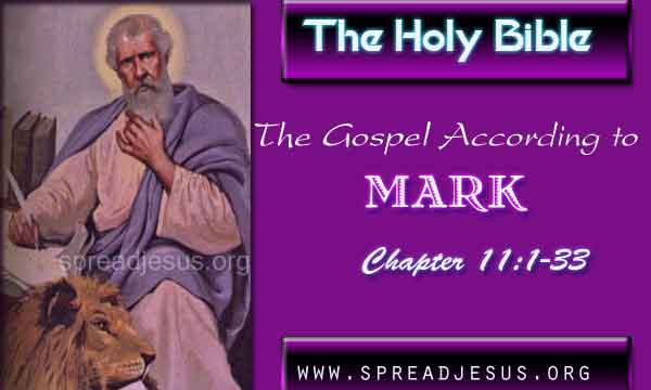 The Holy Bible The Gospel According to Mark Chapter 11:1-33