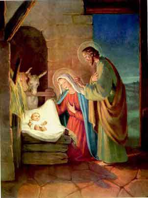 The nativity of Jesus in Bethlehem