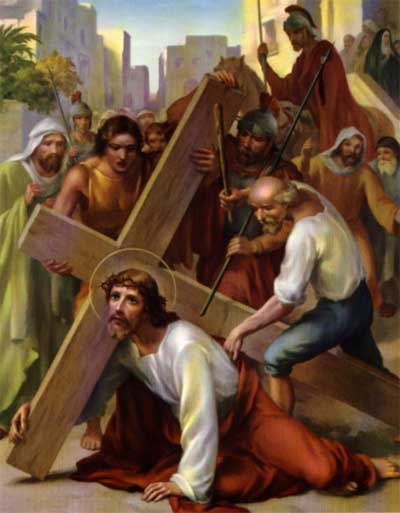 Jesus Falls Under the Weight of the Cross for the First Time