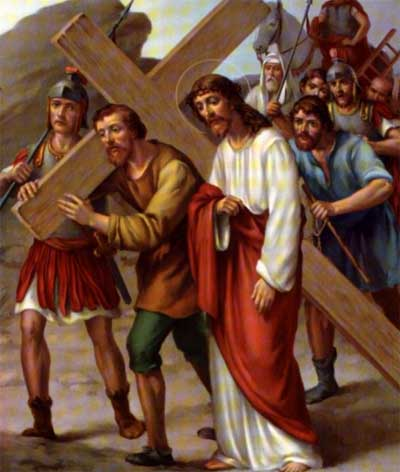 Simon of Cyrene Helps Jesus to Carry the Cross
