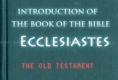 "The book Of The Bible Ecclesiastes Ecclesiastes is the Latin name for the Hebrew Qoheleth,, traditionally known as the ""Teacher"" and in whose name the writing Is presented."