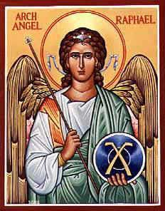 st.Raphael the Archangel (One of the principal angels in Judeo-Christian angelologies, accorded the rank of archangel) Patronage: the blind; happy meetings; nurses; physicians; travelers -spreadjesus.org