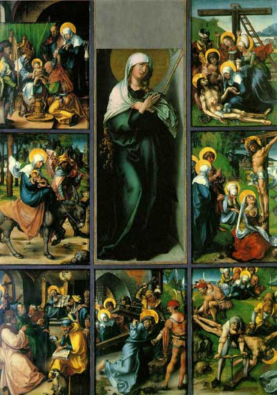 What are the seven sorrows of Mary? The seven sorrows are (l) the prophecy of Simeon, (2) the flight into Egypt, (3) the loss of the child Jesus in the Temple, (4) Mary meets Jesus on the Way of the Cross, (5) the crucifixion of Jesus, (6) Mary receives the body of Jesus taken down from the cross and (7) the burial of Jesus.