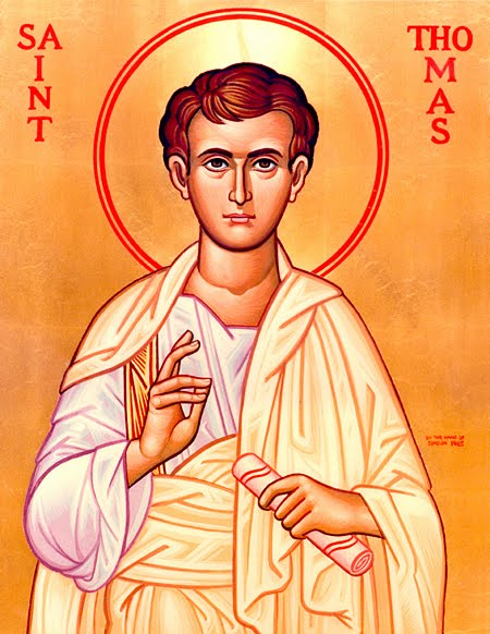 Thomas- The Twelve Apostles His name is Aramaic meaning twin. John uses the Greek rendering Didymus which means the same thing.